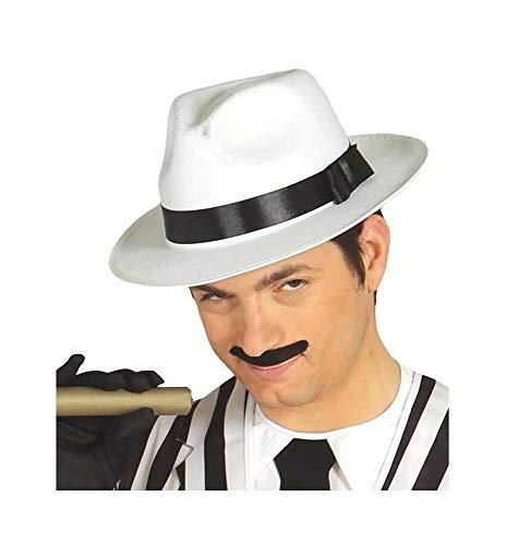 Guirca Fiestas GUI13507 - Sombrero de gánster blanco con lazo negro