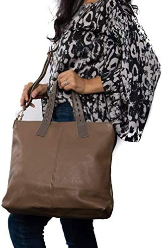 Italian Taupe Soft Pebbled Leather Tote & Shoulder Bag