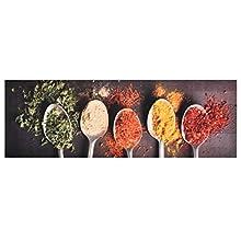vidaXL Alfombra de Cocina Lavable Spoons Felpudo Pasillo Oficina Salón Sala de Estar Vestíbulo Antideslizante Estera Esterilla de Suelo 60x180 cm