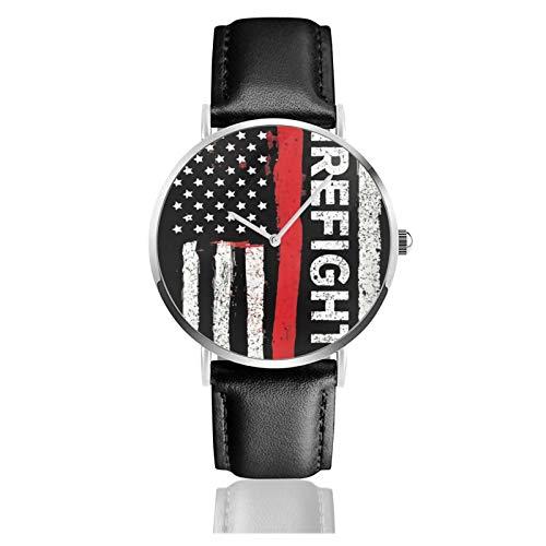 Feuerwehr-Axt Red Line Flag Classic Casual Quarzuhr Edelstahl Schwarz Lederband Uhren Armbanduhren