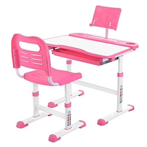 Mesa infantil con silla, escritorio ergonómico para niños con cajón y soporte de lectura, inclinación ajustable y altura regulable, escritorio para estudiantes, para niños de 3 a 10 años (Rosa)