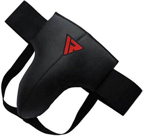 RDX MMA Abdominal Guard Groin Cup Boxing Adult Abdo Protector Jock Strap Muay thai, Medium, Black, Medium, Black