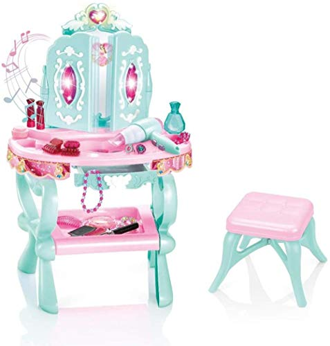 Fantasy Vanity Beauty Dresser Table with Makeup Accessories for Girls Kids, Vanity Toy Pretend Play Kids Vanity Table and Chair Makeup Accessories for Girls