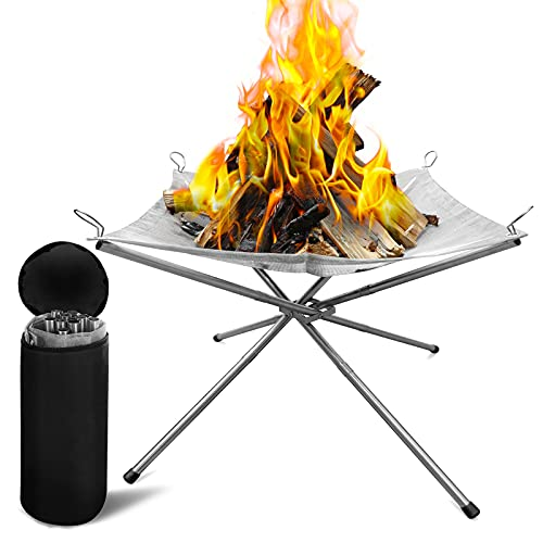 Dcola Portable Outdoor Fire Pit Camping with Carrying Bag Rollable Stainless Steel Mesh Fireplace Outdoor BBQ Picnic Fire Pit for Patio, Backyard and Garden