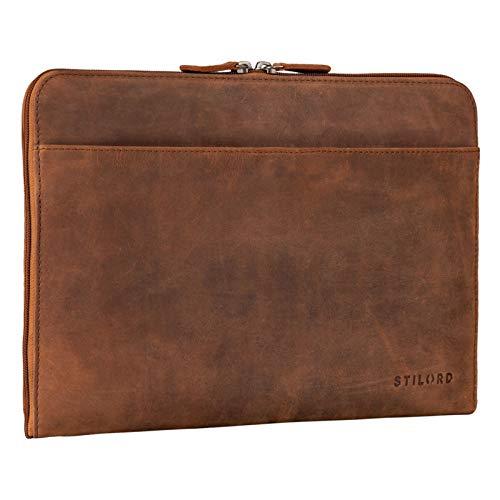 STILORD 'Troy' Laptoptasche 13.3 Zoll Leder für MacBook MacBooktasche Vintage Sleeve ideal als Laptop Hülle 13 Zoll Notebook Tasche Schutzhülle Dokumentenmappe, Farbe:tan - Dunkelbraun