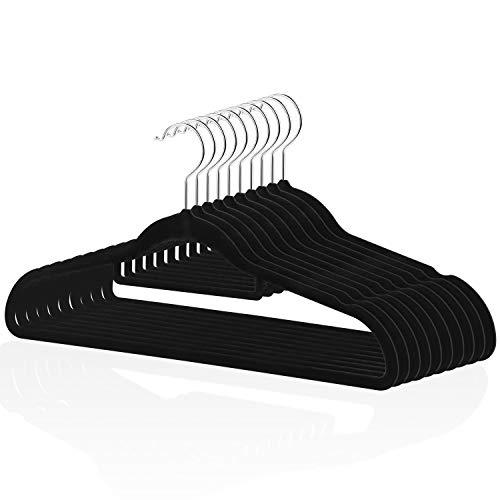 powerful High quality velvet coat hanger (10 pieces, black), non-slip coat hanger, 360 degree swivel …