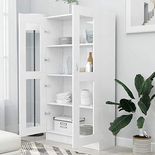 WooDlan Aparador Salon | Armario de Libros |vitrinas para Salon | Librerías de salón | Armario de Almacenamiento |Armarios de salón Aglomerado Blanco,82,5x30,5x150 cm