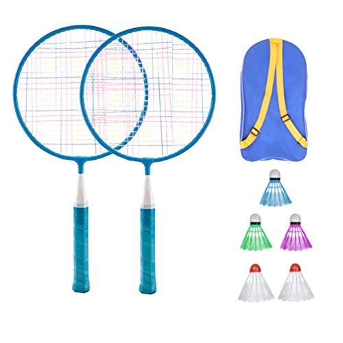 LIOOBO Juego de Bádminton para Niños Juego de Raquetas de Bádminton para Niños Juego de Juguete con Tres Bolas Y Bolsa de Almacenamiento Azul