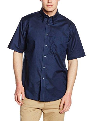 Fruit of the Loom Herren Oxford Businesshemd Oxford Short Sleeve, Blau (Navy 32), Large (Herstellergröße: 16