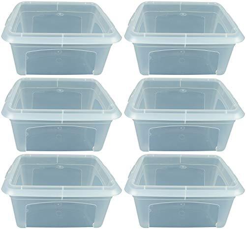 Novaliv 6X Aufbewahrungsbox 2l transparent mit Deckel - Stapelbox klein Plastikbox Kunststoff Plastic Storage Box multibox 20cm