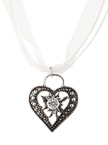 Trachtenkette Wiesnstein eleganter Herz Anhänger mit Strass - viele Farben - Trachtenschmuck Kette für Dirndl und Lederhose (Weiss)