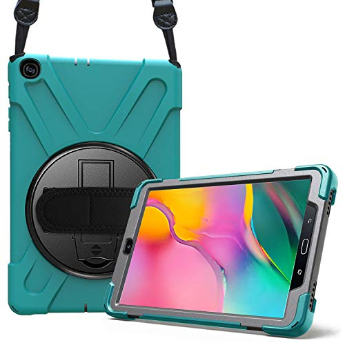 ProCase Galaxy Tab A 10.1 2019 Case T510 T515 T517, Rugged Heavy Duty Shockproof Rotating Kickstand Protective Cover Case for 10.1 Inch Galaxy Tab A Tablet SM-T510 SM-T515 SM-T517 2019 Release –Teal