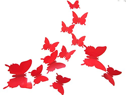 ALLICERE 12Pcs 3D Butterfly Removable Wall Decals DIY Home Decorations Art Decor Wall Stickers Murals for Babys Kids Bedroom Living Room Classroom Office(Color:Red)