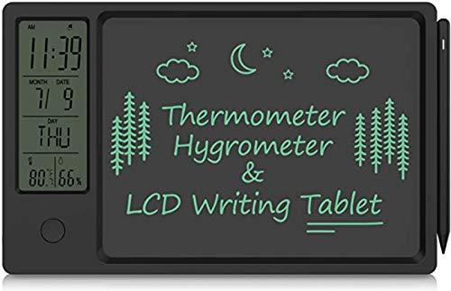Termómetro higrómetro digital con bandeja para escribir, pantalla LCD de 10 pulgadas, medidor de humedad interior con hora, color negro