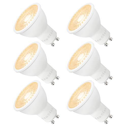Super Hell GU10 LED Spot Strahler Leuchtmittel Glühbirnen Lampen Dimmbar 7W 650Lm Warmweiß 3000K AC185~265V Strahlwinkel 38° Ersetzen 60W Halogenlampe, 6er Pack von Enuotek