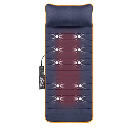 Zensual Heated Massage Mat with 10 Vibrating Massage Motors, 4 Therapy...