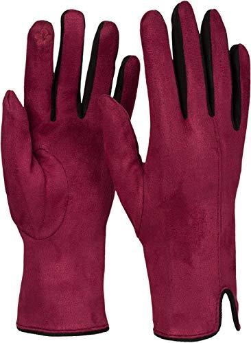 styleBREAKER Guantes para damas con pantalla táctil con contraste de colores y forro polar, guantes térmicos calientes, invierno 09010030, color:Burdeos-Rojo