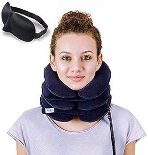 DaviSMART Cervical Neck Traction ✮ Effective Neck Pain Remedy at Home ✮ Inflatable & Adjustable Neck Stretcher Collar Device + Eye Mask Bonus (Dark Blue)