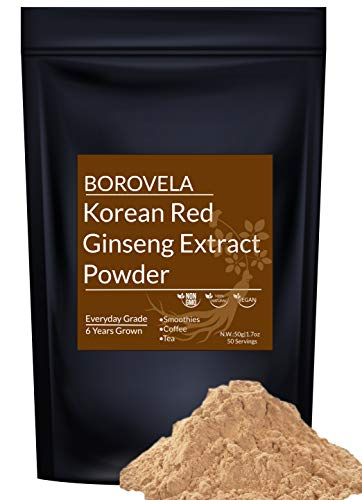 Korean Red Ginseng Extract Powder 100% Natural Authentic Korean Health Power Support Healthy Immune System Energy & Focus Supplements Mix with Coffee Tea Yogurt Soup Smoothies 50 Servings