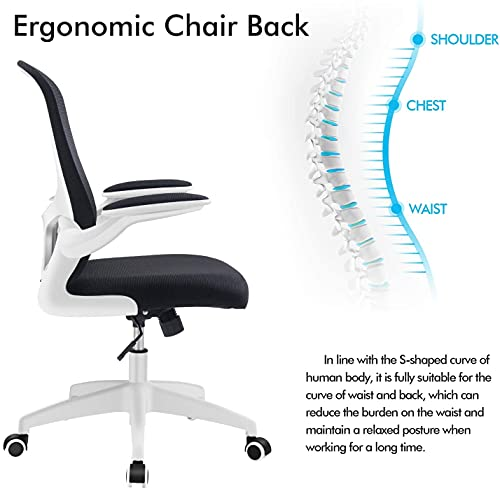 Office Chair, FelixKing Ergonomic Desk Chair with Adjustable Height, Swivel Computer Mesh Chair with Lumbar Support and Flip-up Arms, Backrest with Breathable Mesh (White)