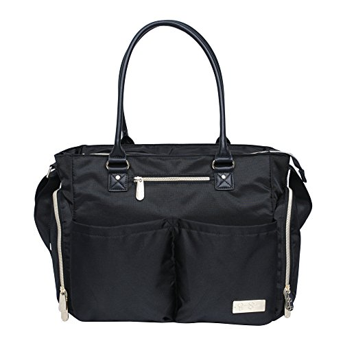 Jessica Simpson 3Pc City Tote Diaper Bag Baby Shoulder Handbag Purse, Black