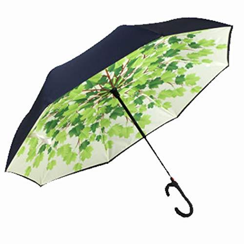 LX-umbrella Parasol Paraguas Doble a Prueba de Viento Paraguas invertido Tipo C con asa,Greenleaf