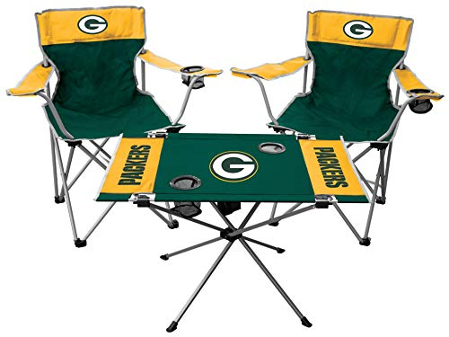 Rawlings NFL 3-Piece Tailgate Kit, 2 Gameday Elite Chairs and 1 Endzone Tailgate Table, Green Bay Packers
