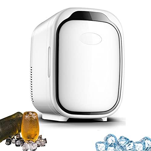 MOZX Mini Refrigerador, 6L Mini Nevera Portátil con Pequeño Ventilador, Mini Nevera Eléctrica para Enfriar Y Calentar, Mini Neveras para Dormitorio, Oficina, Silencioso 28 dB,Negro