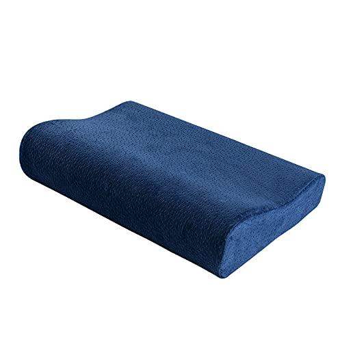 MRBJC Almohadas suaves de espuma viscoelástica para soporte de cuello, almohadas ortopedicas de rebote lento para dormir, almohada de apoyo suave azul cervical, 50 x 30 x 10/7 cm