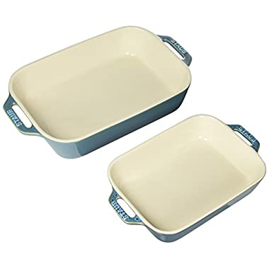 Staub 40511-924 Ceramics Rectangular Baking Dish Set, 2-piece, Rustic Turquoise