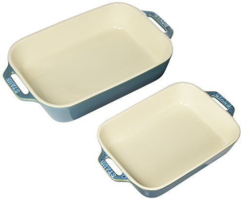Staub Ceramics Rectangular Baking Dish Set, 2-Piece, Rustic Turquoise
