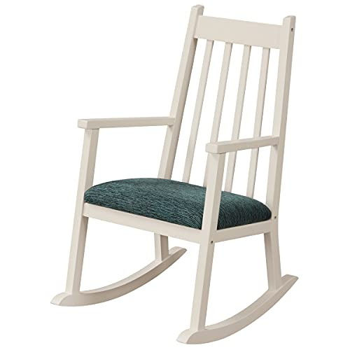 Maxmass Kids Rocking Chair, Toddler Wooden Rocker Chair with Cushion, Children Rocking Armchair for Bedroom & Living Room, Suitable for 3 – 10 Years Old (White)