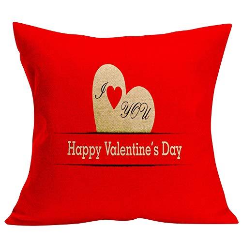 MUzoo Caja de Almohada del día de San Valentín Conjunto de 1 sofá Tiro Cojín de cojín Casa de la Sala de Estar Sofá Funda de Almohada Decorativa para el Coche Coche 45x45cm / 18x18in (Color : A12)