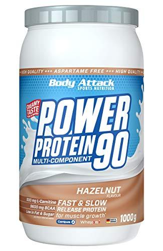 Body Attack Power Protein 90, 5K Eiweißpulver mit Whey-Protein, L-Carnitin und BCAA für Muskelaufbau und Fitness, Made in Germany (Hazelnut Cream, 1 kg)