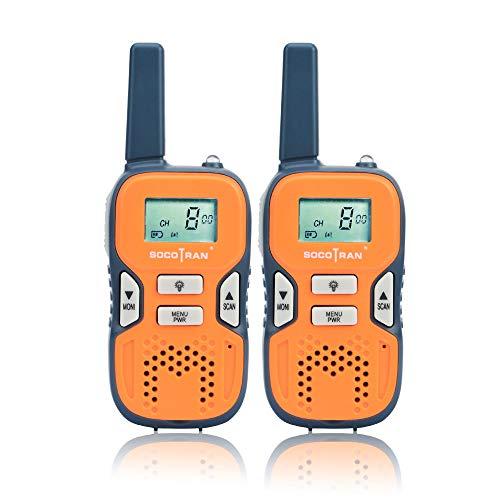 SOCOTRAN Walkie Talkies Twin Pack PMR446 Radio a 2 vie senza licenza 8 canali Radio mini Ham portatile da 0,5 W Ricarica USB con VOX Scan Monitor Torcia Comunicazione radio per campeggio Escursionismo