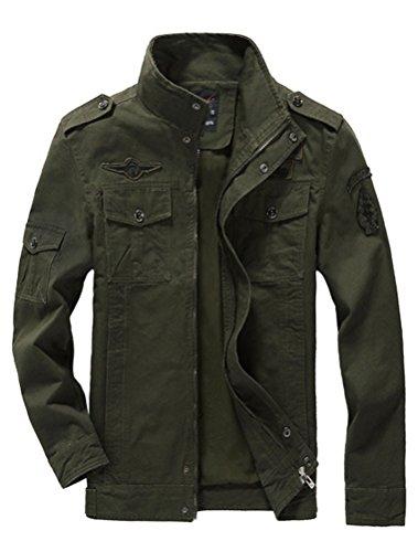 Mallimoda Uomo Primavera Militare Cappotti Trench Zipper Cappotto Slim Fit Casuale Army Green 3XL