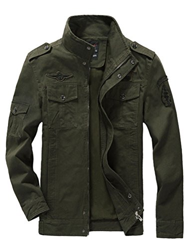 Mallimoda Uomo Primavera Militare Cappotti Trench Zipper Cappotto Slim Fit Casuale Army Green 2XL