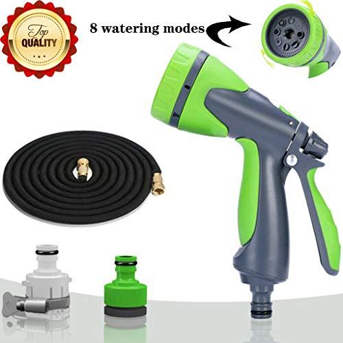 Tuinslang Flexibele Slang Voor Tuinbesproeiing Irrigatie Buitendouche Waterpistool Autowaswerktuig 8 Besproeiingsmodi Grondreiniging (Color : Green, Size : 15m)