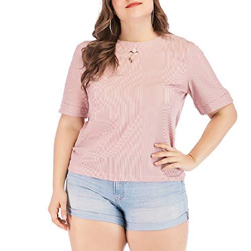 XACXYDP T-Shirt Damen Rundhalsstreifen Gestreiftes Plus Size Kurzarmhemd