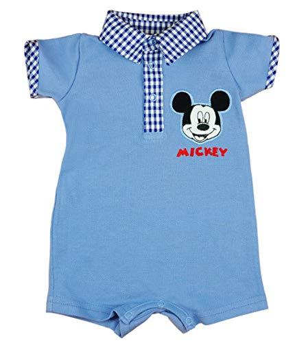 Disney Baby Spieler für Junge mit Mickey Mouse Einteiler Kurze Strampler in Größe 56 62 68 74 80 86 100% Baumwolle ideal für Sommer Poloshirt Farbe Hell, Größe 56