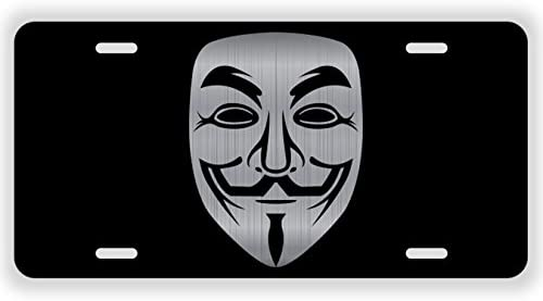 Vincit Veritas Anonymous Mask Black Etched License Plate V for Vendetta Mask Guy Fawkes Mask product image
