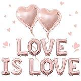 El amor es amor decoraciones Orgullo LGBT Decoraciones para fiestas Conjunto de globos de amor de oro rosa Globos de corazón para despedida de soltera Fiesta de compromiso de boda