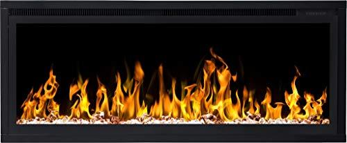 AFLAMO ROYAL Chimenea eléctrica, (750 W o 1500 W), simulación de fuego LED, profundidad de solo 15 cm (106 x 43 x 15)