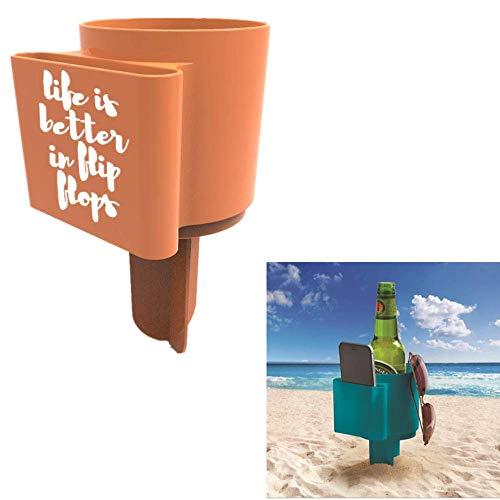 ANNIUP Soporte de plástico para vasos de playa, para bebidas, arena, posavasos para teléfono, gafas de sol, accesorio de playa, uso en la playa y más, evita derrames (color al azar)