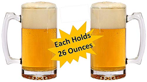 Beer Mugs - Heavy Duty Glass Mug - Thick Frosty Glass Keeps Beer Ice Cold! - TWO 26 Oz Beverage Mugs - Large Mugs - Beer Stein