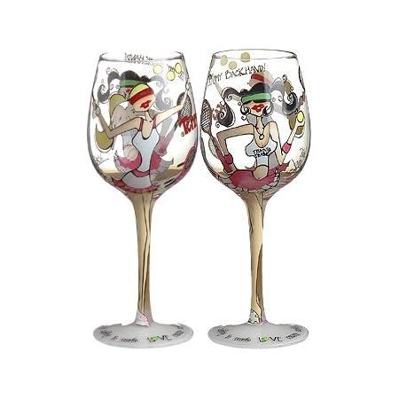 Bottom S Up 15 Ounce Tennis Anyone Handpainted Wine Glass Wine Glasses