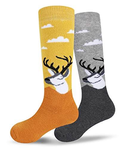 Ski Socks Kids Winter Warm Thermal Snow Ornament Xmas Gift For Boys Girls(2pack /3pack) (2-pack(yellow+gray), X-Small)