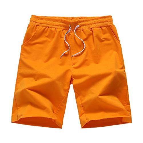 Xmiral Shorts Herren Elastische Taille Kordelzug Einfarbig Strandhosen Surfshorts Atmungsaktive und schnell trocknende Freizeitkleidung Jogger Fitness(Orange,L)