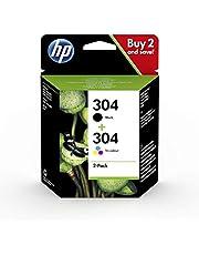 HP 304 pack de 2, cartouches d'encre Noire et Trois Couleurs (Cyan, Magenta, Jaune) Authentique (3JB05AE) pour imprimantes HP DeskJet et HP ENVY
