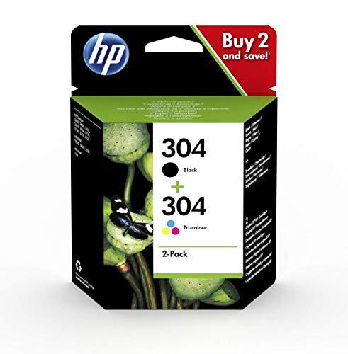 HP 304 Pack de 2 Cartouches d'Encre Noire et Trois Couleurs (cyan, magenta, jaune) Authentiques (3JB05AE)
